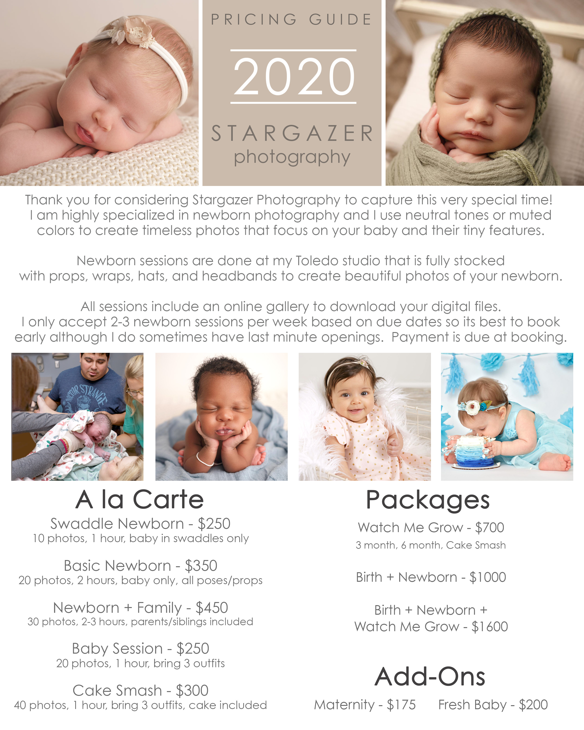 Toledo Newborn Photography Pricing